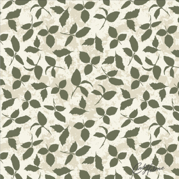 Sage green tossed leaves on a textured cream background