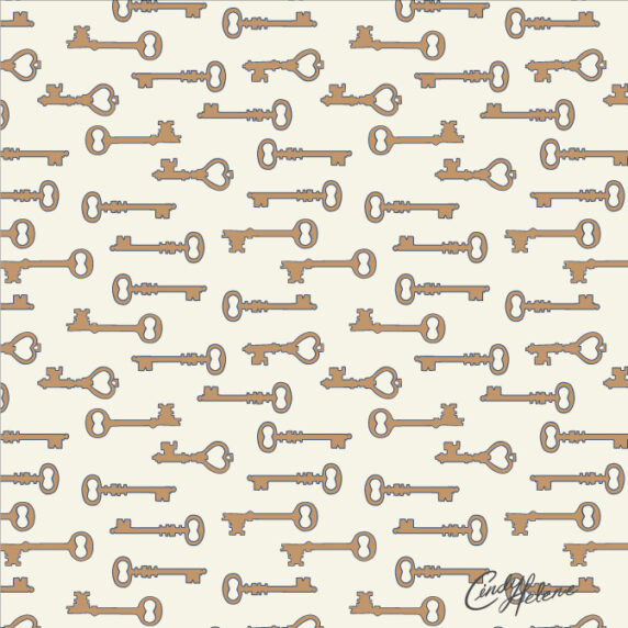 Orange vintage keys on a white cream background