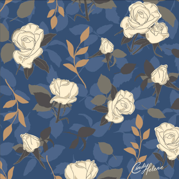 Vintage cream colored roses with brown leaves and tossed lighter blue leaves on a darker blue background