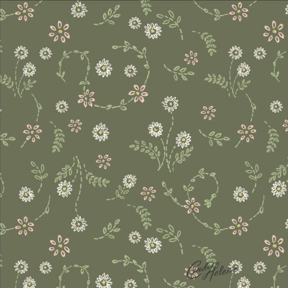 needle point pink, green, and cream simple flowers on a sage green background