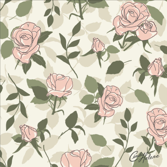 Dusty Pink Vintage roses on a cream background with tossed beige leave